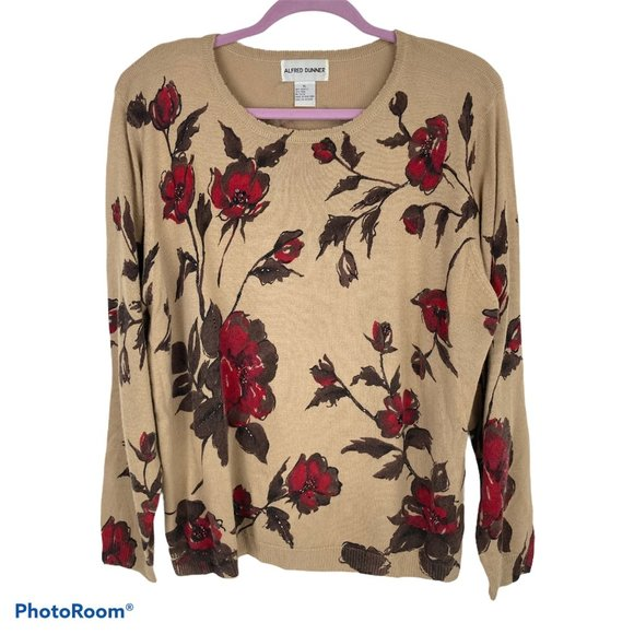 Alfred Dunner Floral Print Beaded Wool Sweater XL